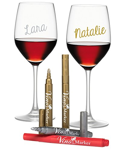 Vino Marker Metallic Wine Glass Pens - Pack of