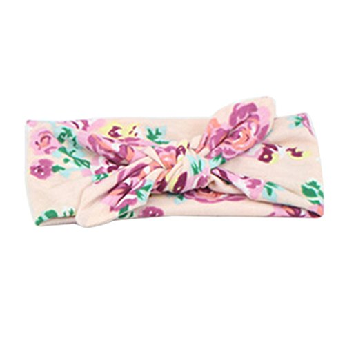Sanwood Baby Girl Headband Bowknot Flower Headdress Elastic (B)