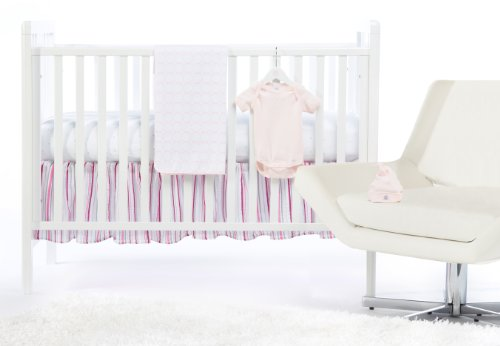SwaddleDesigns 5 Piece Newborn Crib Bedding Set with Crib Skirt, Pastel Pink, 0-3 months