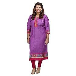 Damyantii Purple Cotton Silk 3/4 Sleeve Straight casual XXL Kurta (Dmk_032_XXL)