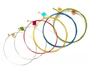 Generic Multi Colored Acoustic Guitar Strings Set Round 1 Sets by MID