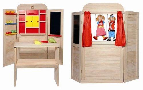 Holz SpielkUche Von Beiden Seiten Bespielbar ~ Kaufmannsladen Kaufladen Theater Kasperletheater