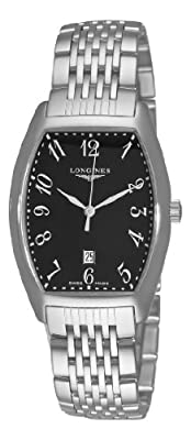 Longines Men's L26554536 Evidenze Black Rectangular Dial Watch