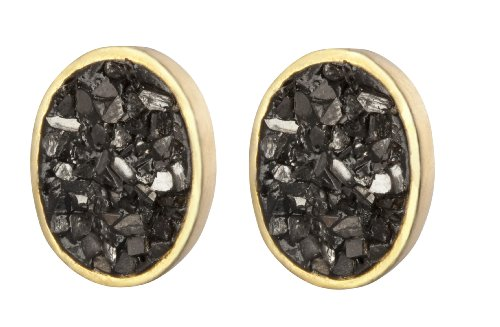 Oval Stud Black Rose Cut Diamond Earrings - 925 Silver Plated 24K Gold - Handcrafted Jewelry