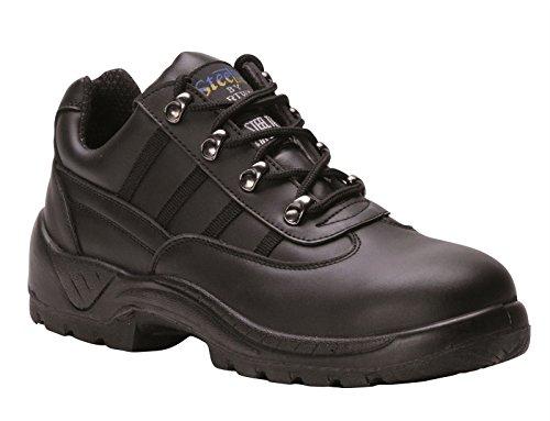 Sicurezza Portwest scarpe., manzo spaccatura in pelle, tra suola in acciaio, resistente a benzina e petrolio, S1P nero 39