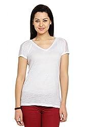 Women White Short Sleeve Lyocell Linen