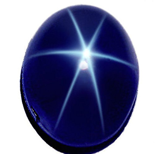 Jaz77 - Natural Dark Blue Star Sapphire 10x8 mm Oval Cabochon 6 Rays AAA Top Quality Loose Gemstone (Natural Sapphire Stone compare prices)