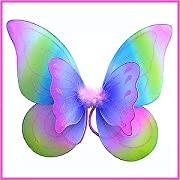 Double Layered Rainbow Fairy Princess Butterfly Costume Dress-up Wings w/ Pink, Purple, Blue & Green Best Rainbow Fairy Wings