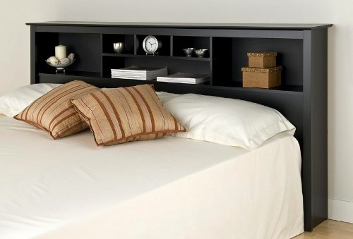 Bookcase Style Black Finish King Size Storage Headboard