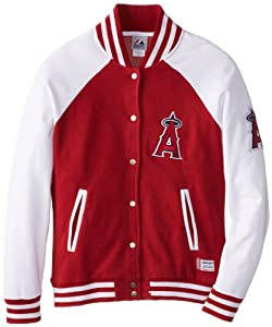 MLB Los Angeles Angels Pumped Up Varsity Jacket, Red Pepper Heather White by Majestic