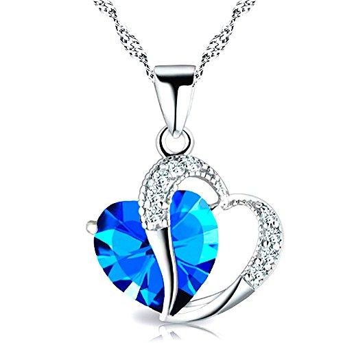 """Kim Johanson Argento Sterling 925 Donna Collana """"Turquoise Love"""" Turchese Cuore Con Pietre Zirconia Compresi Sacchetto Regalo"""