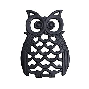 Black Finish Cast Iron Owl Wall Art Ornament for Garden or Home from Gardens2you