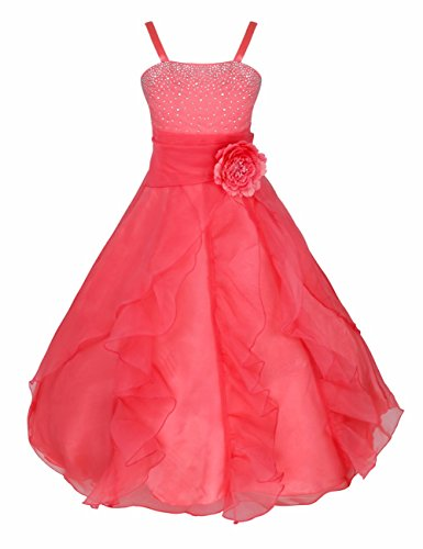 FEESHOW Girls Organza Flower Princess Dress for Wedding Pageant Party Ball Gown Watermelon Red 14