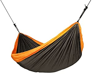 LA SIESTA Colibri Comfortable Ultra Light Parachute Silk Travel Hammock and Blanket with EasyAdjust Suspension, Orange, Double