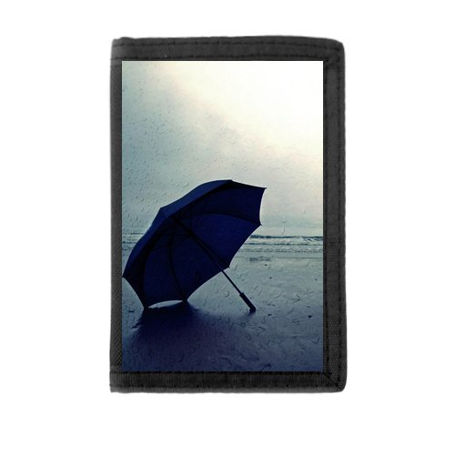 Anhome Blue Umbrella Put On The Seashore Custom Canvas Wallet front-1048743
