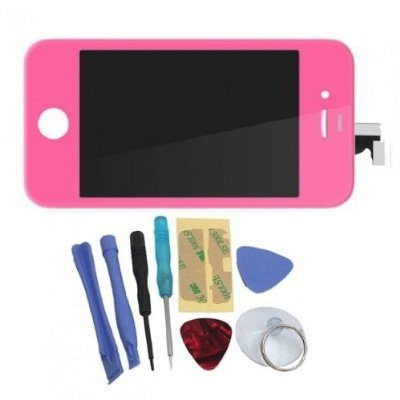 Binnbox Pink Lcd Touch Screen Glass Digitizer Assembly Replacement For Iphone 4S Gsm + Back Cover Case + A Set Cracked Screen Repair Tools Kit