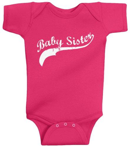 Threadrock Baby Girls' Baby Sister (Baseball Script) Bodysuit 6M Hot Pink front-1030558