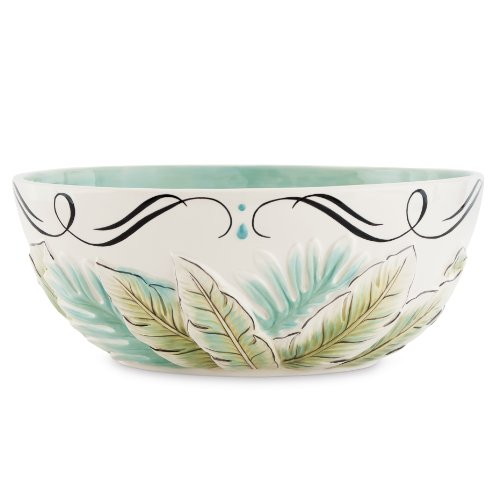 Cockatoo Collection, Serving Bowl Green Glass Serving Bowl