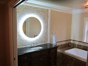 wall mounted lighted vanity mirror led mam2d32 commercial grade 32 round home. Black Bedroom Furniture Sets. Home Design Ideas