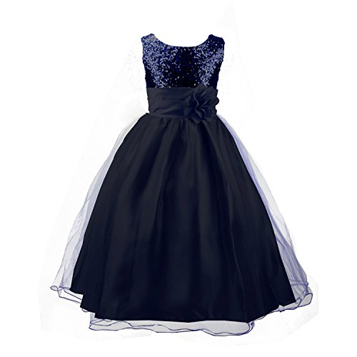 Acediscoball Big Girls'Flower Party Wedding Gown Bridesmaid Tulle Ruffle Dress Size US 14/11-12years Navy Blue