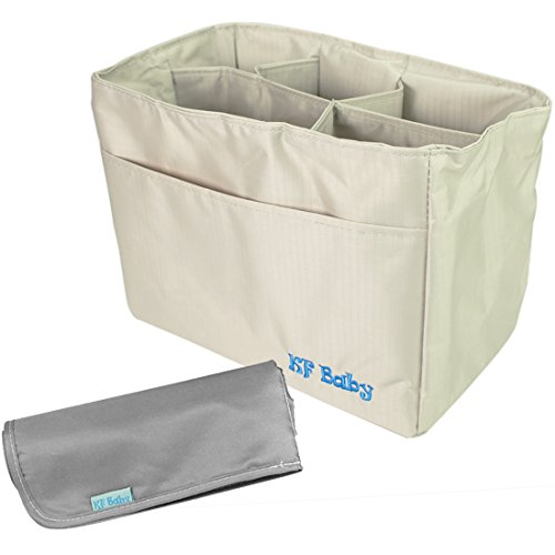 Kf Baby Diaper Bag Insert Organizer (9.6 X 5.6 X 7.2 Inch, Khaki) + Diaper Changing Pad Value Combo front-1032670