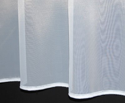 Sue. Plain lead weighted voile net curtain. 45 inch drop. Finished in White. Sold by the Metre