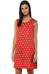 Akkriti by Pantaloons Women's A-Line Dress ( 205000005654007, Red, X-Small)