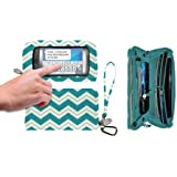 Charm 14 Teal Chevron Large Touchscreen Wristlet/Wallet Cell Phone Carrying Case - Retail Packaging - Chevron teal