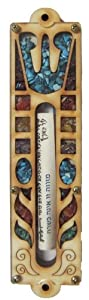 Judaica Jewish Mezuzah Wood Shin with Stones and Scroll By Matiel Made in Israel
