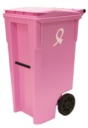 414a5e17435c56 Detail of 35 gallon pink color with breast cancer awareness logo heavy duty  trash can with wheels and attached lidThe rugged 96 gallon HDPE cart stands  up ...