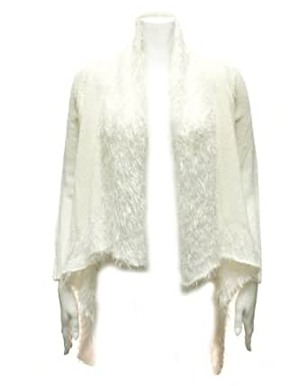 Ladies White Faux Fur Knit Long Sleeve Sweater