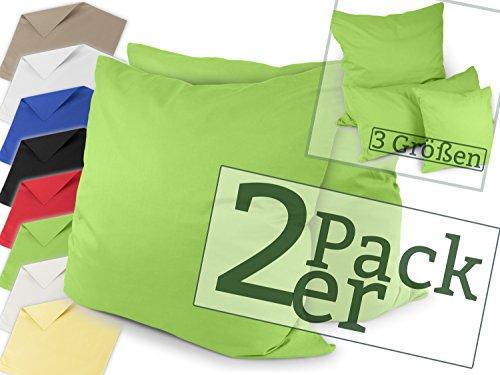 Renforcé-Kissenbezüge im Doppelpack - 100% Baumwolle - schlicht und edel im Design, in 8 Uni-Farben, 80 x 80 cm, grün