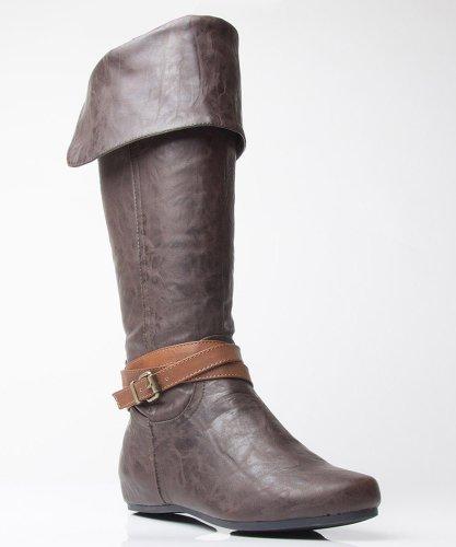 Soda Mona-H Vegan Leather Round Toe Mid Calf Strappy Boots Brown Tan (10)