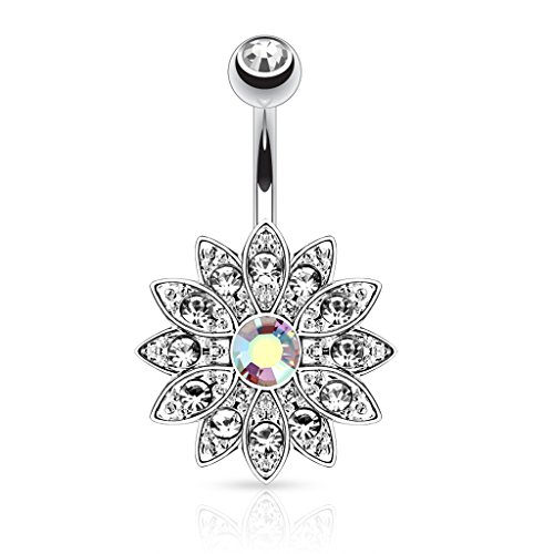 CZ Flower Belly Button Ring Aurora Jeweled (Cz Flower Ring compare prices)