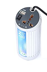 """AKSHAJâ""""¢ DC to AC Power Car Inverter Converter Adapter Charger with Extra USB Charging Slot"""