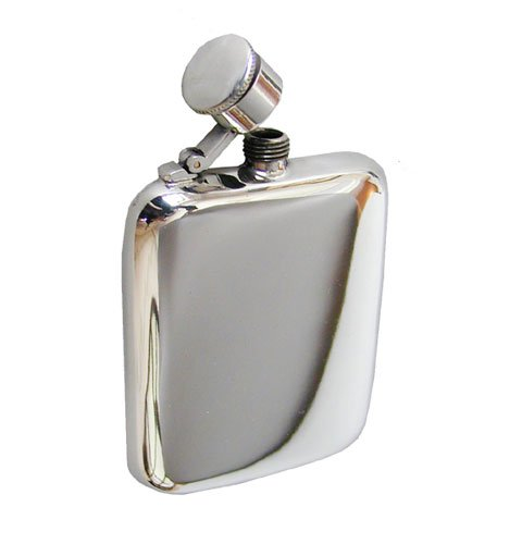 Classic pewter hip flask 4 oz with captive top & pouch