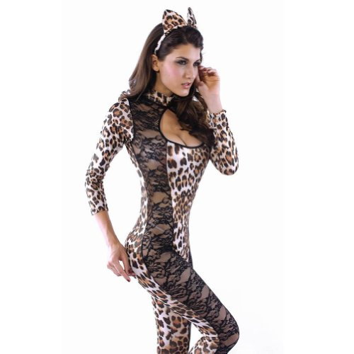 Meilaier Halloween Cosplay Secret Wishes Sexy Adult Catwoman Costume Onesie Uniform