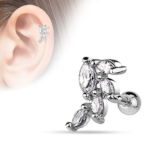 (1 piece) 16g (1.2mm) Straight Barbell w/ Marquise CZ Cluster Vine (316L) Surgical Steel, Nickle Free (Cartilage, Tragus, Conch, Helix, Ear, Monroe, Lip) (surgical steel) (Gem Cluster 16g compare prices)