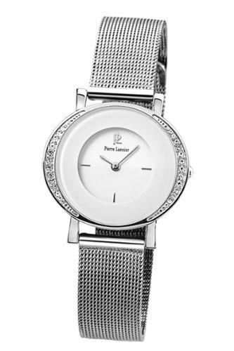 Pierre Lannier - 013K608 - Montre Femme - Quartz Analogique - Cadran Blanc - Bracelet maille milanaise Acier Argent - Strass