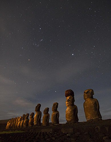 Wallmonkeys WM156076 Moai Stand at Night Illuminated beneath a Sky Full of Stars Peel and Stick Wall Decals (36 in H x 28 in W)