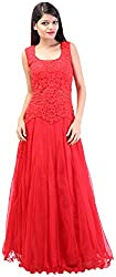 Arya The Design Gallery Women's Net Gown (A5225, Red, Small)