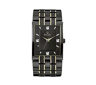Bulova Men's Black and Gold Stainless Steel with Black Dial Watch