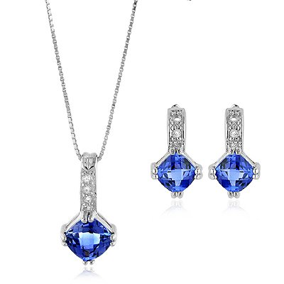 4 Ct.tw Tanzanite & White Sapphire Necklace & Earrings Set in Sterling Silver