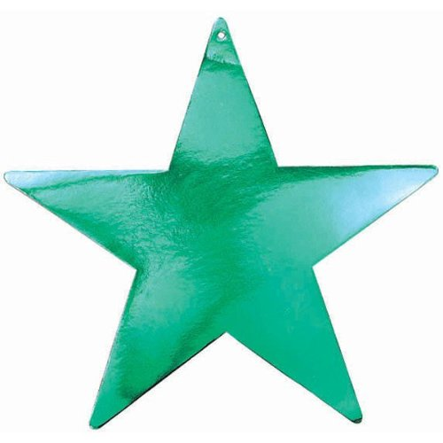 "Amscan Boys Clean Bulk Foil Star Party Cutouts, 15"", Green"