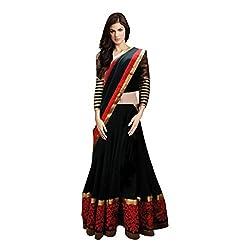 Radadiyatrd Net Lehenga Saree(BlackREDlehenga01_Multi-Coloured)