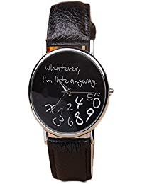 ISweven 2016 Fresh Fashion Leather Belt Trendy Watch Analogue Black Unisex Wrist Watch W1036aa