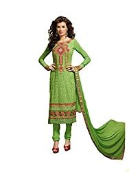FadAttire Embroidered Pure Bambr Suit, Semi Stitched Suit-Green-FAKM03