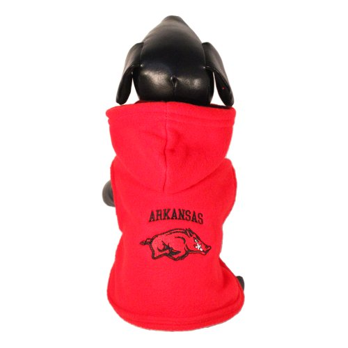 NCAA Arkansas Razorbacks Polar Fleece Hooded Dog Jacket, Large at Amazon.com