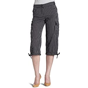 Mac & Jac Women's Cotton Stripe Cargo Capri