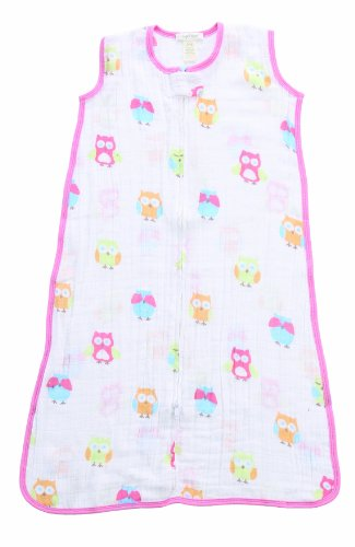 Angel Dear Muslin Sleep Sack, Pink Owl - 1